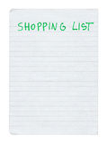 Shopping list. Isolated on pure white background Royalty Free Stock Image