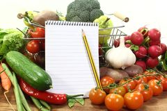 Shopping list with basket and vegetables Royalty Free Stock Photography