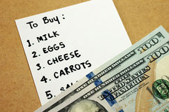 Shopping list on budget Royalty Free Stock Photos