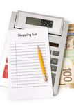 Shopping List and calculator Royalty Free Stock Images