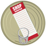 Shopping list on a can Stock Image