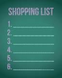 Shopping list chalkboard illustration design Stock Image