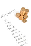 Shopping list and coin Stock Photography