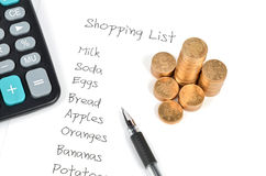 Shopping list and coin Royalty Free Stock Photography