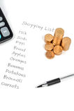 Shopping list and coin Stock Image
