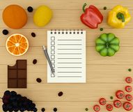 Shopping list. Different vegetables and fruit with notebook with blank pages to write your text. Notebook for Recipes or Menu. Bitten chocolate. Top view. 3D Stock Photography