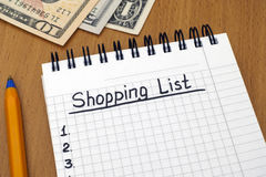 Shopping List with dollars Royalty Free Stock Photo