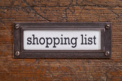 Shopping list - file cabinet label Royalty Free Stock Photo