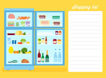 Shopping List Flat Style Refrigerator Illustration Royalty Free Stock Photo
