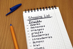 Shopping list of fruits Stock Photo