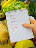 Shopping list at the grocery store (french) Stock Images
