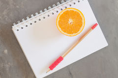Shopping list with Healthy fruits Stock Photo