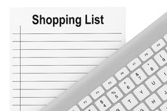 Shopping List with Keyboard Royalty Free Stock Photo