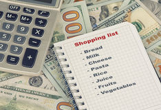 Shopping list and money Stock Photos