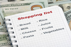 Shopping list and money Royalty Free Stock Images