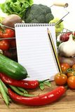 Shopping list with pencil and basket Royalty Free Stock Images