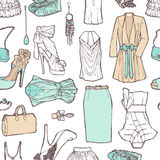 Shopping list in pictures. Pattern of womens cloth Royalty Free Stock Photography