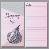Shopping list. printable journaling cards, for Royalty Free Stock Image