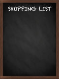 Shopping list sign on blackboard. Shopping list sign on a framed blackboard Royalty Free Stock Photos