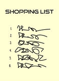 Shopping list with six items on beige paper Royalty Free Stock Image