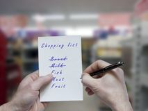 Shopping list at the store Stock Photo