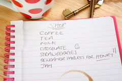Shopping List with a Twist Royalty Free Stock Photos