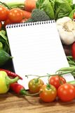 Shopping list with vegetables