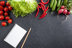 Shopping list with vegetables Stock Photo