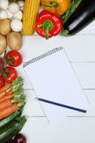 Shopping list for vegetarian vegetables like tomatoes and paprik Stock Photo