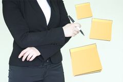 Shopping list for women. girl in a jacket stock image