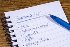 Shopping List. A shopping list written in a notepad royalty free stock image