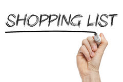 Shopping list written on whiteboard Stock Images