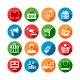 Shopping Long Shadow Icons Stock Image