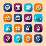 Shopping long shadow icons Royalty Free Stock Photo