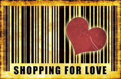 Shopping For Love. On Abstract Art Background Stock Photography