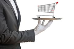 Waiter holding a silver platter with an empty shopping trolley, on white background. 3d illustration stock images