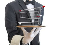 Waiter holding a silver platter with an empty shopping trolley, on white background. 3d illustration royalty free stock photography