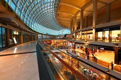 Shopping mail in Singapore . MBS. The internal Shopping mall in the Marina Bay Sands Integrated Resort , Singapore Royalty Free Stock Photos