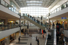 Shopping mall. Multilevel shopping mall with elevators Stock Photography