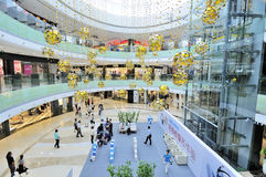 Shopping mall. A looking down view of a shopping mall,the shopping mall of wanda wuxi city china Royalty Free Stock Photos