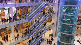 Shopping mall AVIAPARK, Moscow, Russia.  Just opened biggest shopping mall in Europe.  stock footage