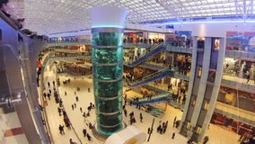 Shopping mall AVIAPARK, Moscow, Russia.  Just opened biggest shopping mall in Europe.  stock video footage