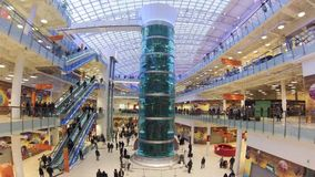 Shopping mall AVIAPARK, Moscow, Russia.  Just opened biggest shopping mall in Europe. stock video