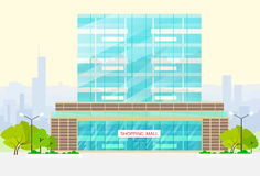 Shopping mall building exterior vector Royalty Free Stock Photo