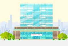 Shopping mall building exterior vector. Shopping mall building exterior flat vector illustration Royalty Free Stock Photo