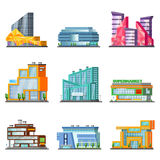 Shopping Mall Building Set. With stores and supermarkets of different construction isolated vector illustration Stock Images