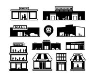 Shopping mall buildings icons. Store exteriors with people pictograms. Shop houses with shoppers vector symbols isolated. Shopping mall buildings icons. Store royalty free illustration