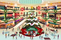 Shopping Mall During Christmas Illustration royalty free stock photo