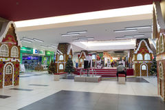 Shopping mall during christmas time Royalty Free Stock Image