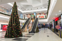 Shopping mall during christmas time Royalty Free Stock Photo